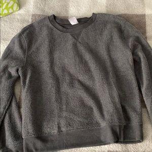 dark grey crew neck sweatshirt